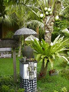 Balinese shrine with offerings