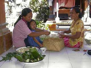 Making banten (offerings) for Galungan